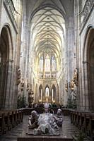Sculpture of St Adalbert, Nave with vaulted ceiling, St Vitus Cathedral, Prague Castle, Prague, Czech Republic.