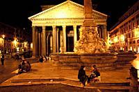 Pantheon, Roman temple with Corinthian columns, Fountain of the Pantheon, Fontana del Pantheon, Piazza della Rotonda square, Rome, Lazio, Italy, Europ...