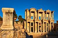 Turkey, Izmir province, Selcuk city, archaeological site of Ephesus, Celsus library.