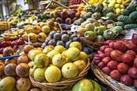 fruits stall at the market hall Mercado dos Lavradores, Funchal, Madeira, Portugal, Europe.