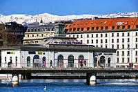 City center of Geneva - landmark - exhibition center Cité du Temps on the bridge Pont de la Machine, Geneva, Switzerland, Europe