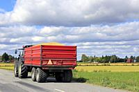 Tractor pulls red agricultural trailer with a full load of harvested grain along country road on a sunny day in autumn harvest time.