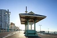 Morning on Brighton seafront, East Sussex, England.