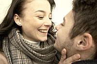 smiling teenage woman looking at boyfriend, happiness, in Cottbus, Brandenburg, Germany