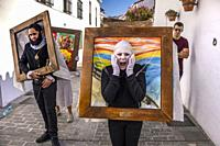 Traditional carnival parade at the white village of Mijas. Malaga province Costa del Sol. Andalusia, Southern Spain Europe.