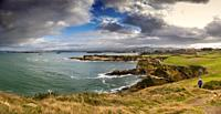Panoramic view. Viewpoint Lighthouse of Cabo Mayor. Santander coast and Cantabrian Sea. Cantabria, Spain. Europe.