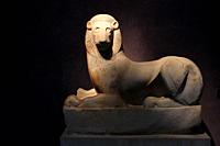 The ´Sacred Gate Lion´ (590-580 BC) in Kerameikos archaeological museum in Athens Greece. Archaeological Site of Kerameikos in Athens Greece. Kerameik...