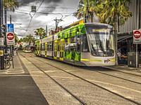 Modern electric tram in Melbourne, Australia.