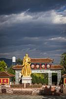Golden statue of a Communist soldier, Dali Old Town, Yunnan province, China.