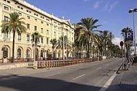 View along the Passeig de Colom Barcelona Spain.