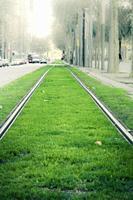 Tram line in the city, Barcelona, Catalonia, Spain, Europe.