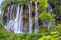 Large (Great) waterfall. Veliki Slap. Plitvice Lakes National Park. Lika Plješivica mountain range . The park falls within two counties Lika-Senj and ...