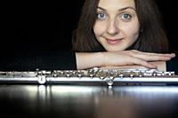 Studio portrait of professional flutist [Alla Sorokoletova] - Boca Raton, Florida, USA.