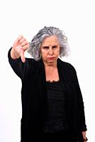 woman thumps up on white background.