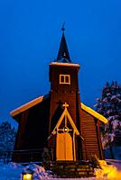 The Plassen Church (Kirke) along the Trysil River. Built in Dragon Style. The original church was built here in 1879, but burnt to the ground in 1904....