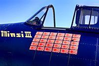 Close up of the kill tags on a WW2 USN Grumman F6F Hellcat fighter plane at the Tucson airshow in Arizona.