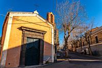 The Ancient Sicilian church in the beautiful morning sun.