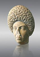 Roman portrait bust of a flavian women possibly Domita, circa 69-96 AD excavated from Terracina. This portrait can be dated from the typical hairstyle...