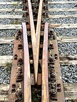 Railroad tracks with a switch in Ystad, Scania, Sweden.