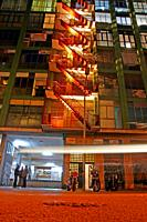 Illuminated emergency stairs, Llum Bcn 19 festival, Poblenou district, Barcelona, Catalonia, Spain