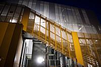 Night view of the architecture of the new hospital of Massa Carrara Italy.