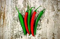 Green and Red chilli peppers