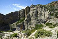 Rock walls in Baldonsera Valley, Guara Mountains, Pyrenees in Spain.