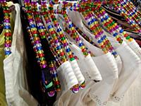 Colorful Beaded Hangers in Clothing Shop, Pamplona, Spain.
