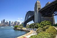 Sydney skyline and view of Sydney harbour bridge.