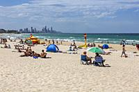 Burleigh heads beach and view of Surfers Paradise on the Gold Coast,Queensland.