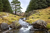 River flowing from Blea Tarn in Little Langdale,Lake District national park in Cumbria,England.