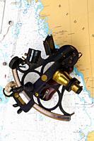 Sextant, Charts, Marine navigation instruments.