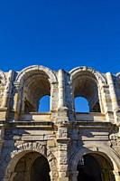 Roman Amphitheater with Clear Sky in Arles, Provence Alpes Cote d'Azur in France.
