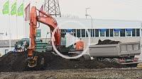 Excavator working in Ystad, Sweden