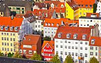 High angle shot of colourful houses, Christianshavn, Copenhagen, Denmark, Scandinavia