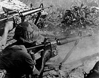 VIETNAM Loc Ninh -- Oct/Nov 1967 -- US Army GIs engage Viet Cong forces near Loc Ninh, close to the Laos border during October and November 1967 amid ...