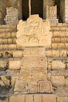 Sculpture, Serpent Head with Mayan Hieroglyphs, Structure 1, The Acroplolis, Ek Balam, Yucatec-Mayan Archaeological Site, Yucatan, Mexico
