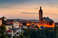 Church of st James and the old town of Kutna Hora. .