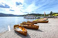 excursion boats at the lake Titisee, High Black Forest, Germany, shore of town Titisee-Neustadt.