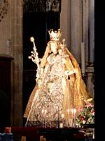 Statue of The Madonna of Antwerp in Cathedral of Our Lady, Belgium.