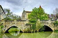 bridge and Eglise de Fources, Fources, Gers Department, Nouvelle Aquitaine, France.