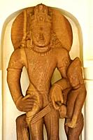 Sculpture representing hindu gods Shiva and his son Kartik ( 7° century) ( Archeological museum at Panna, Madhya pradesh, India).
