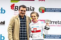 Malgorzata Jasinska, most agresive woman, at the podium of the 2nd stage of UCI women cycling race Emakumeen Bira, at the Basque Country. Stage finish...