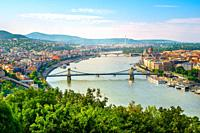 Panoramic view on Budapest at summer sunset.