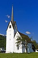 White church against blue sky, Switzerland.