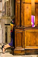 woman in confession in catholic church.