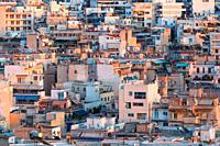 Athens, Greece - February 9, 2019: Residential area of central Athens as seen from Strefi hill.