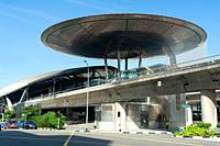 Singapore, Republic of Singapore, Asia - Exterior view of the Expo station along the MRT network. The railway station was designed by the British arch...