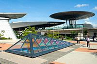 Singapore, Republic of Singapore, Asia - Exterior view of the Expo station along the MRT network at Changi Business Park. The railway station was desi...