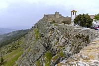 The medieval castle of Marvao and Clock tower of Santa Maria Church, Portalegre District, Alentejo Region, Portugal.
